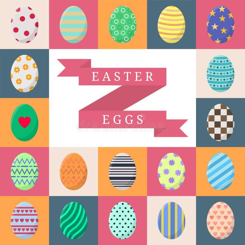 套复活节彩蛋 与条纹、小点、心脏和样式的五颜六色的鸡蛋在白色,桃红色,橙色和灰色正方形 向量 库存例证