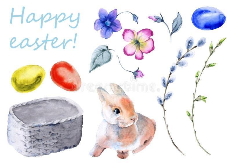 套复活节花圈由分支和花制成 兔宝宝复活节 背景查出的白色 皇族释放例证