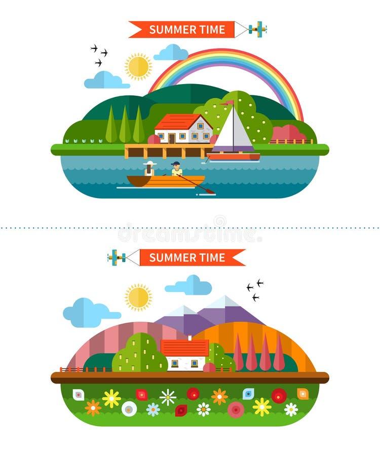 套夏天在平的样式的风景背景 库存例证