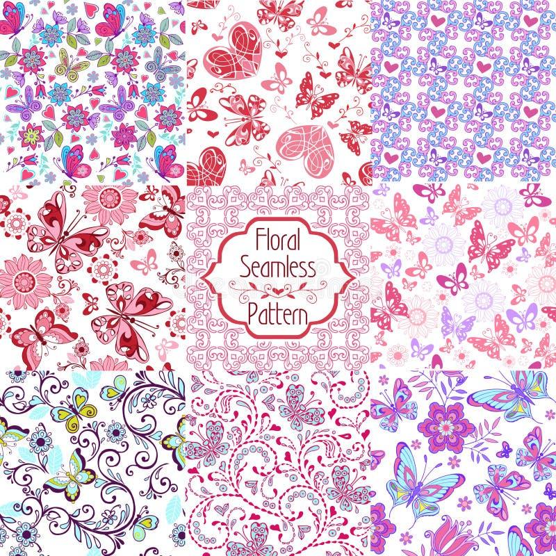 套夏天无缝的花饰 套与桃红色,蓝色蝴蝶和心脏的花卉无缝的样式 库存例证