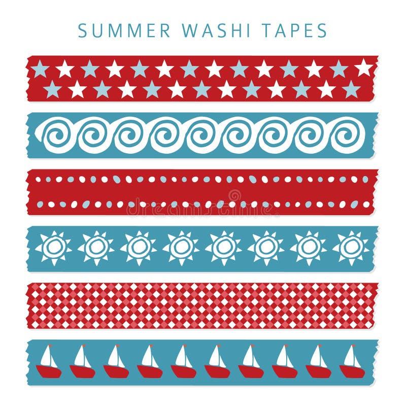 套夏天海washi磁带,丝带,元素,样式 库存例证