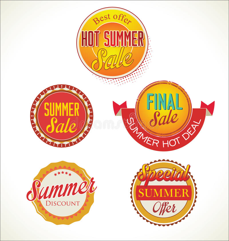 套夏天销售标签 库存例证
