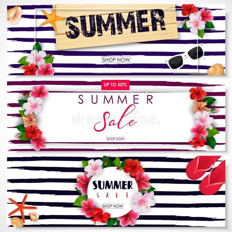 套夏天销售横幅设计 向量例证