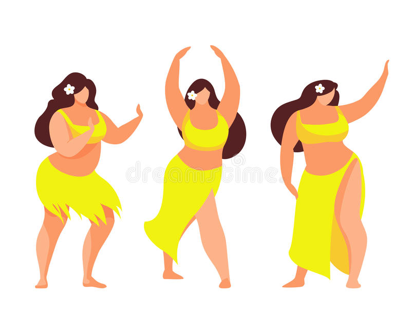 套夏威夷hula舞蹈家 也corel凹道例证向量 库存例证