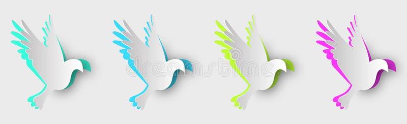 套多彩多姿的鸽子由与阴影的纸制成 向量例证