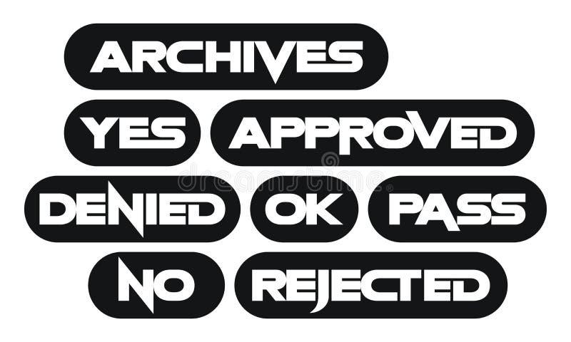 套多数共同的邮票词,单色 向量例证