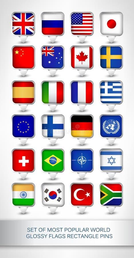 套多数普遍的世界光滑的旗子长方形别针 库存例证