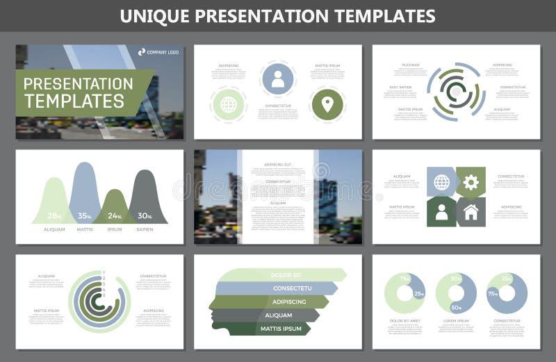 套多用途介绍模板的绿色和蓝色元素滑与图表和图 传单,公司 向量例证