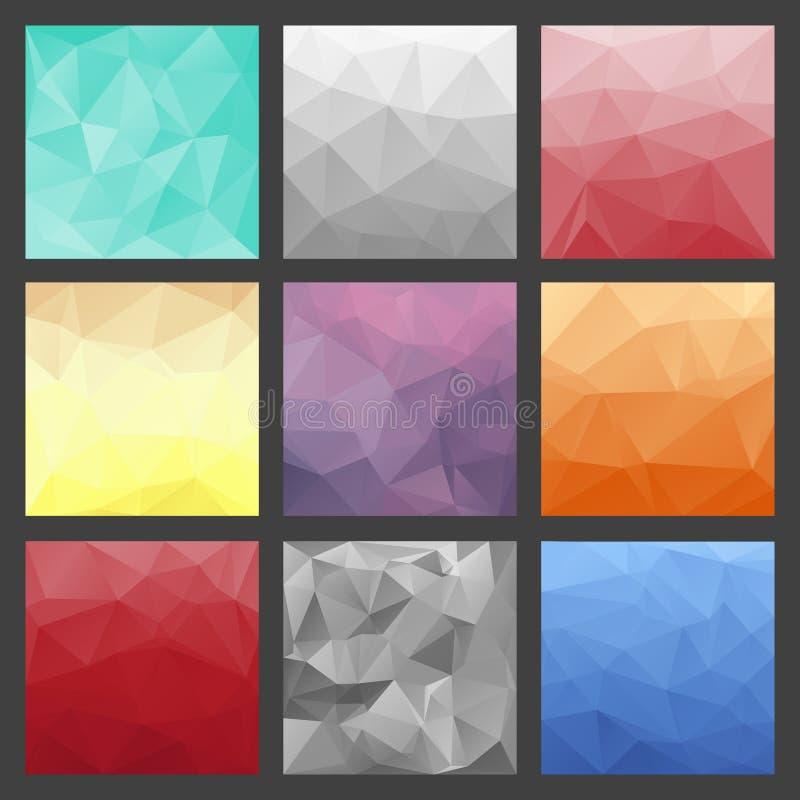 套多角形三角背景 五颜六色的梯度模板 库存例证