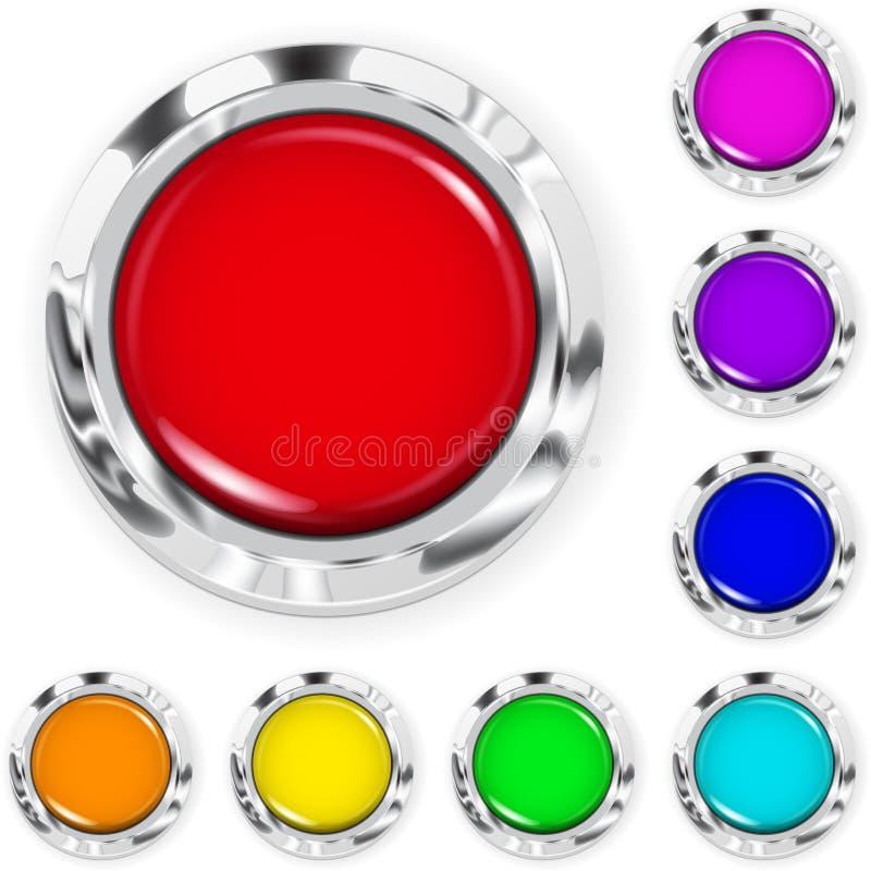 套大多彩多姿的塑料按钮 向量例证