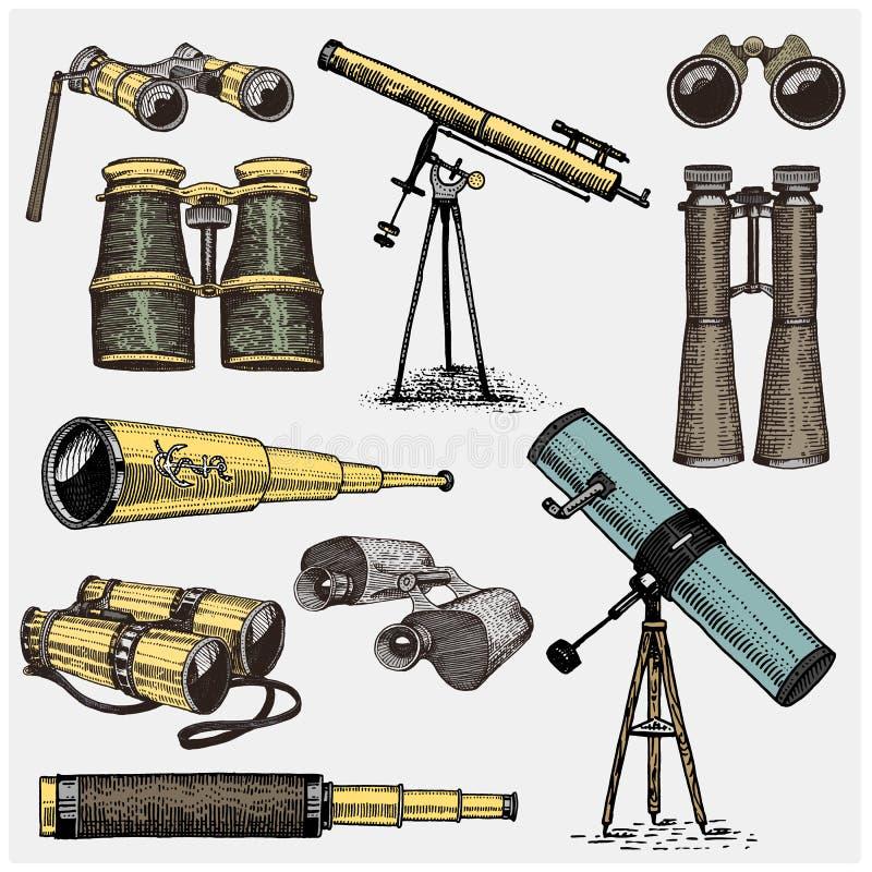 套天文学仪器、望远镜盯镜和双筒望远镜,象限,在葡萄酒刻记的六分仪手拉 皇族释放例证
