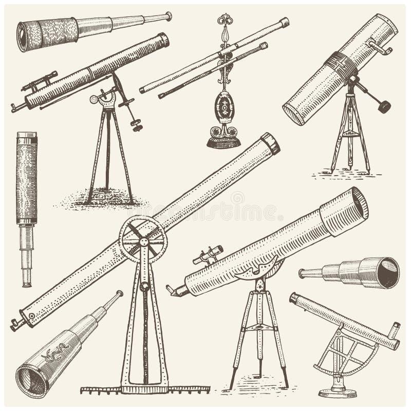 套天文学仪器、望远镜盯镜和双筒望远镜,象限,在葡萄酒刻记的六分仪手拉 向量例证