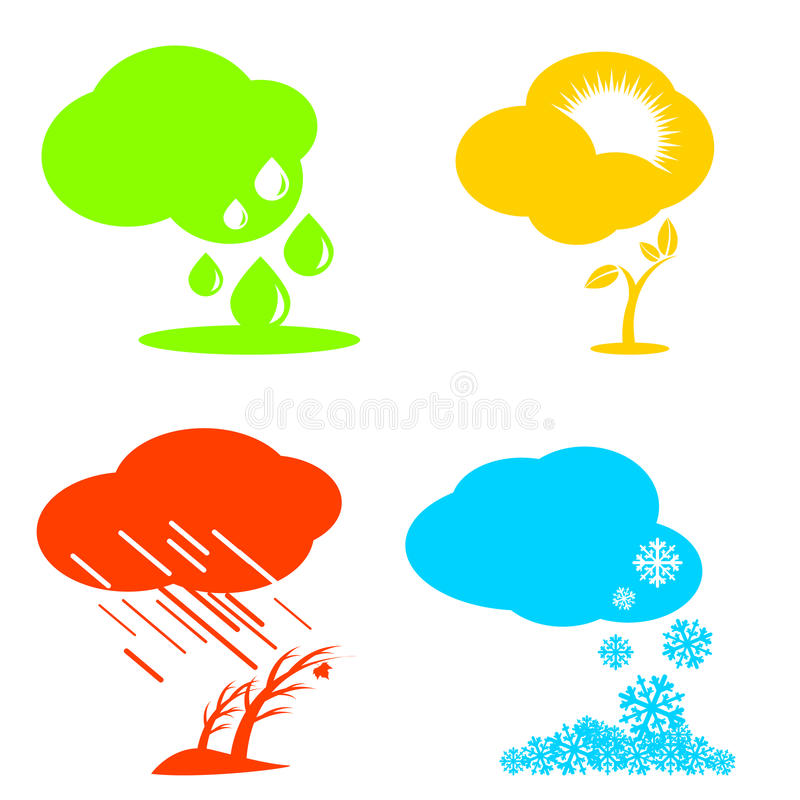 套天气和季节象 免版税库存图片