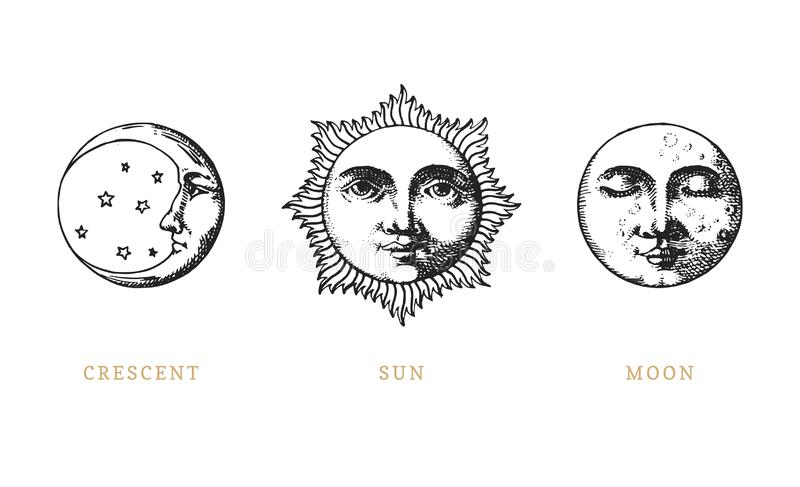 套太阳、月亮和月牙,手拉在刻记样式 向量图形减速火箭的例证 库存例证