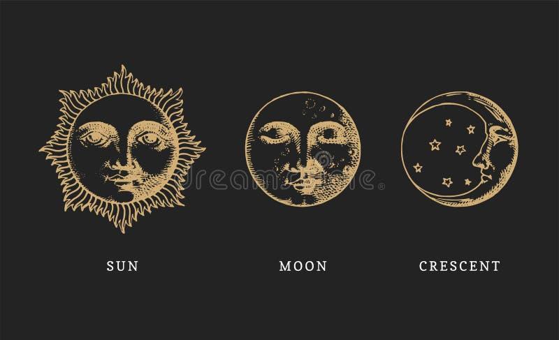 套太阳、月亮和月牙,手拉在刻记样式 向量图形减速火箭的例证 皇族释放例证