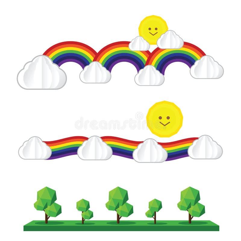 套太阳云彩彩虹树在白色backgro隔绝的太阳象 向量例证