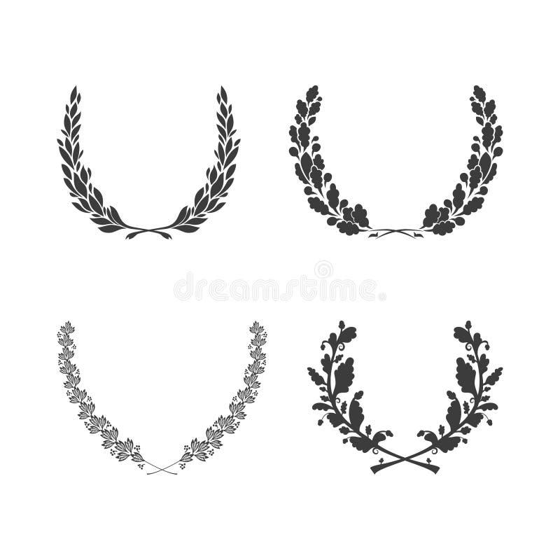 套奖成就纹章和贵族的传染媒介黑白圆叶的花圈 库存例证