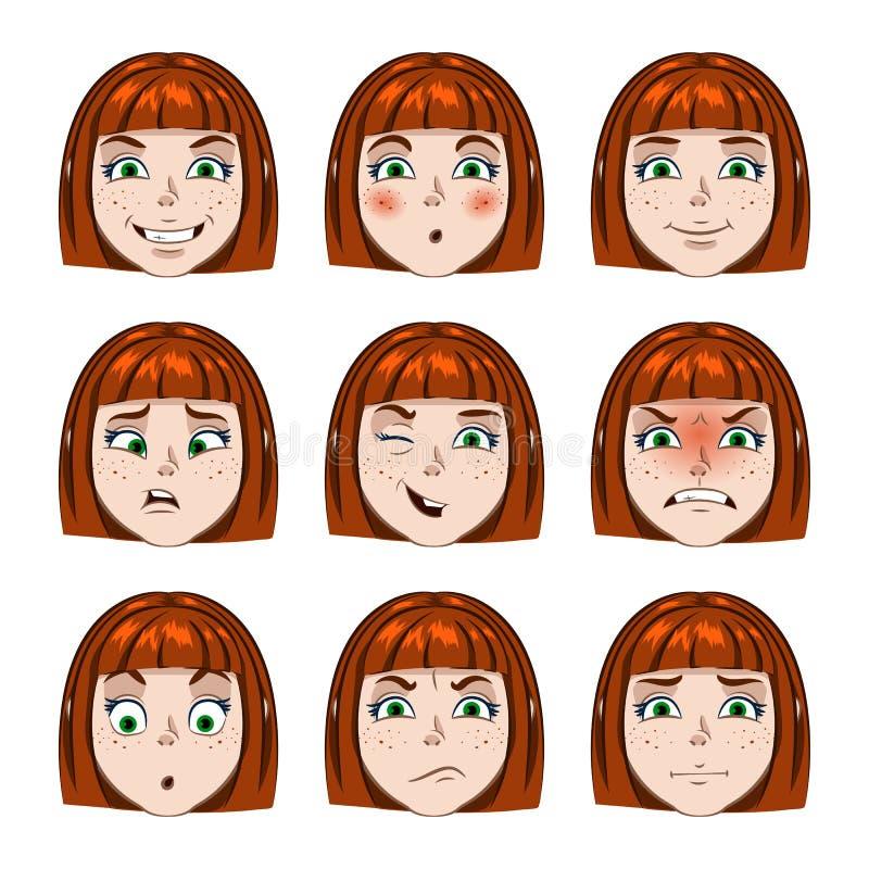 套女孩面孔情感 图库摄影