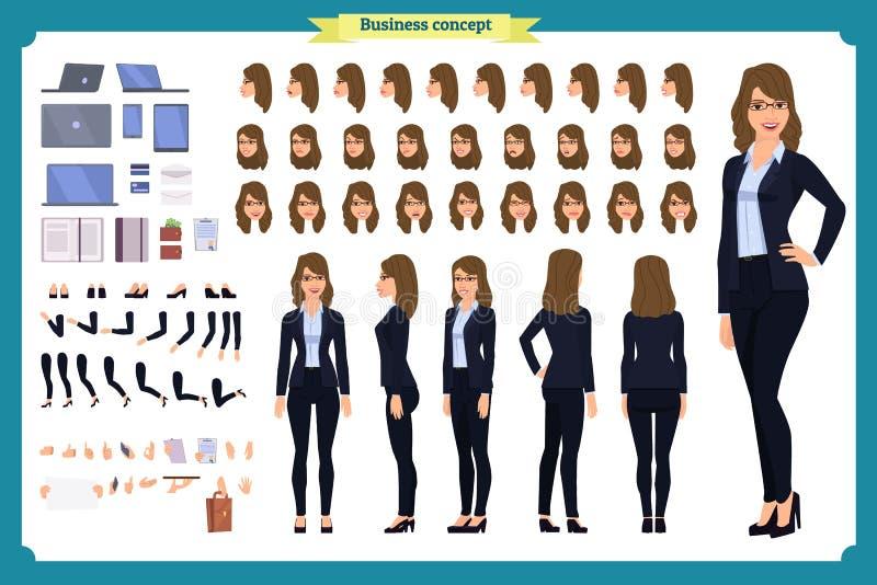 套女实业家字符设计 前面,边,后面看法给字符赋予生命 企业女孩字符 向量例证