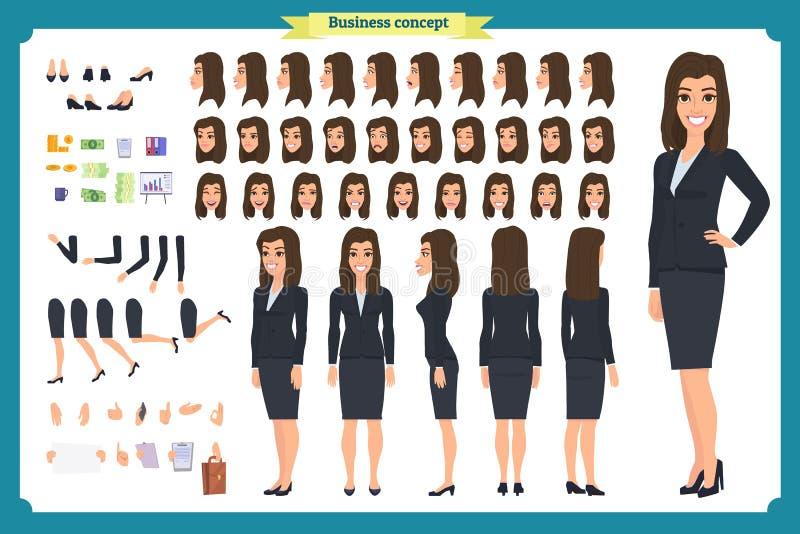 套女实业家字符设计 前面,边,后面看法给字符赋予生命 企业女孩 动画片,被隔绝的舱内甲板 皇族释放例证