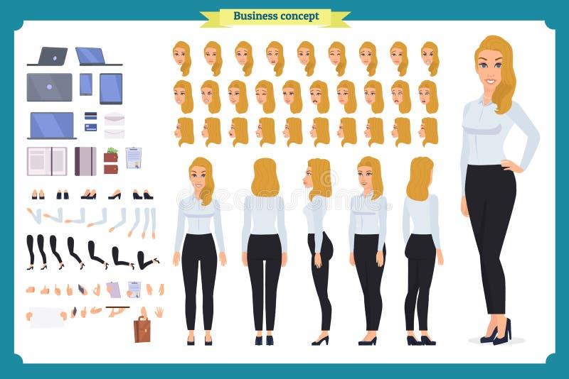 套女实业家字符设计 前面,边,后面看法给字符赋予生命 企业女孩 库存例证