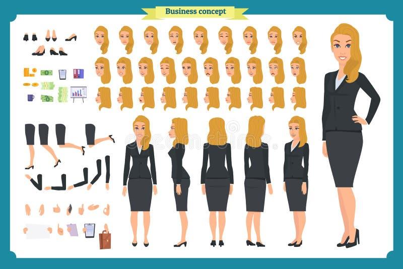 套女实业家字符设计 前面,边,后面看法给字符赋予生命 动画片样式,平的传染媒介 库存例证