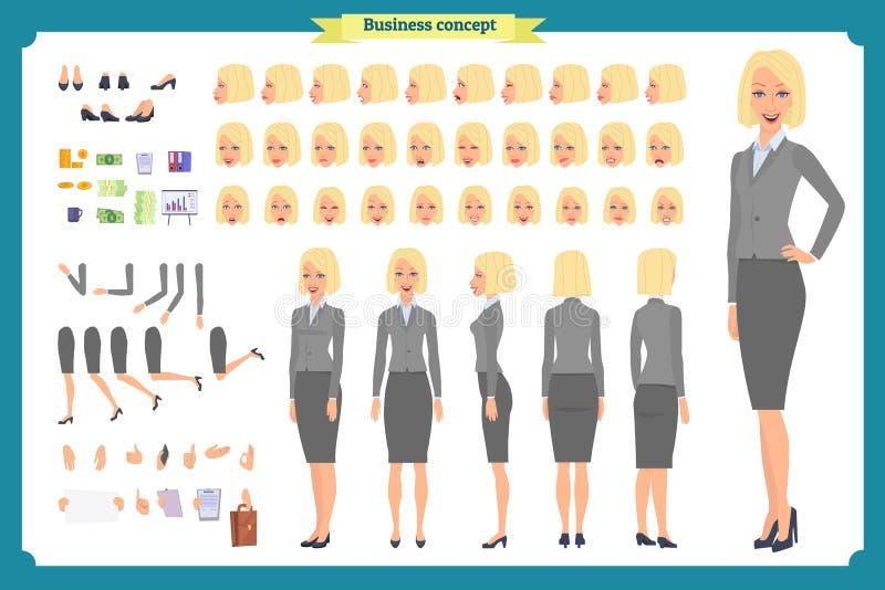 套女实业家字符设计 前面,边,后面看法给字符赋予生命 动画片样式,被隔绝的平的传染媒介 向量例证