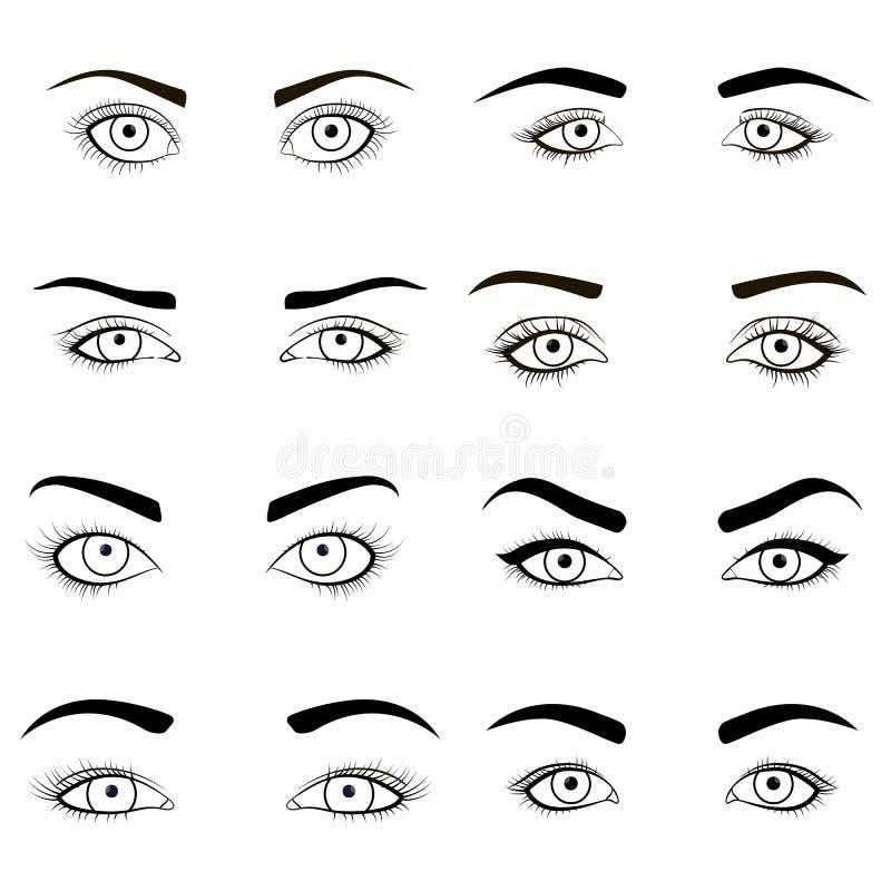 套女性眼睛和眉头染黑图象 健康魅力设计的传染媒介例证与美妙地塑造 向量例证