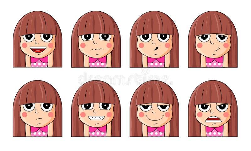 套女性面部情感 用不同的表示的逗人喜爱的女孩emoji字符 库存例证