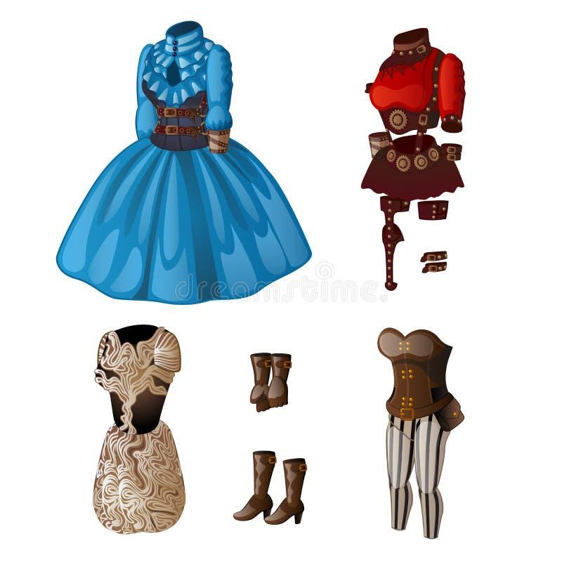 套女用贴身内衣裤、礼服和起动 蓝色,红色,白色和棕色口气的经典妇女成套装备和内衣 皇族释放例证