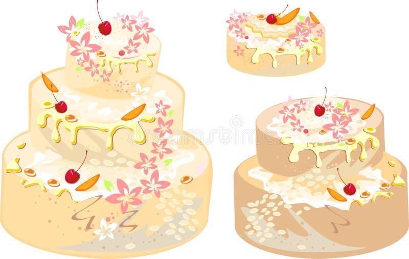 套奶油蛋糕 库存例证