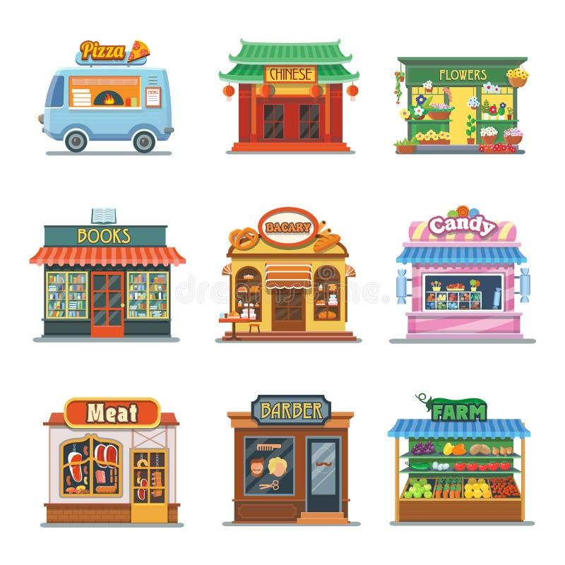 套好的陈列室商店 薄饼,面包店,糖果 皇族释放例证