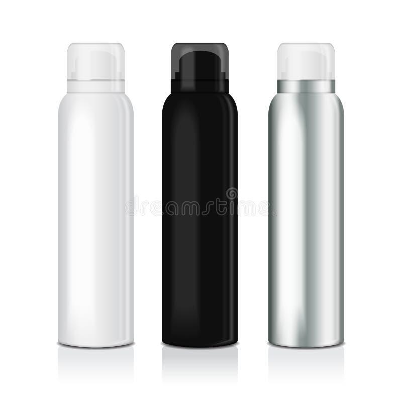 套妇女或人的防臭剂浪花 导航金属瓶假装模板有透明盖帽的 皇族释放例证