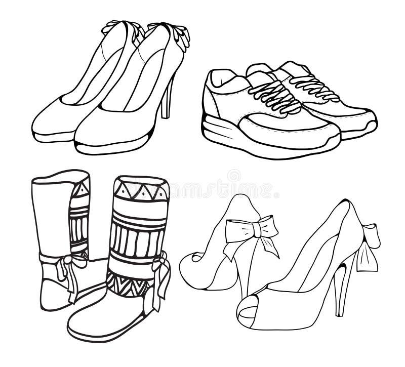 套妇女的鞋子各种各样的乱画概述  皇族释放例证