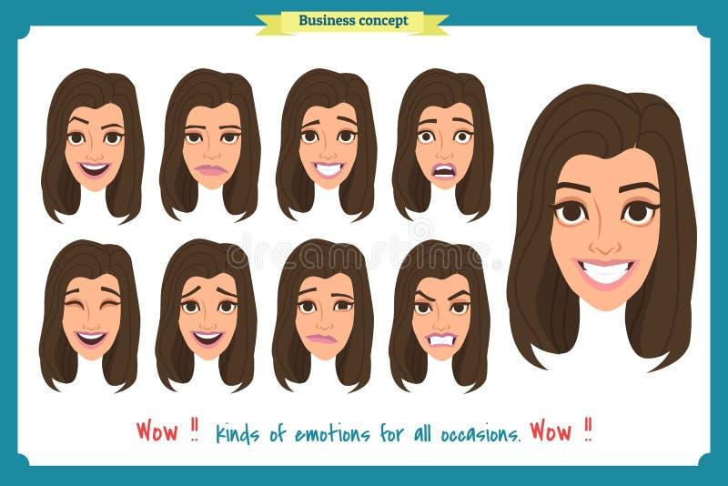 套妇女表达式 在白色 平的设计 逗人喜爱的情感 导航面孔女孩,恼怒,哀伤,微笑 女实业家 向量例证