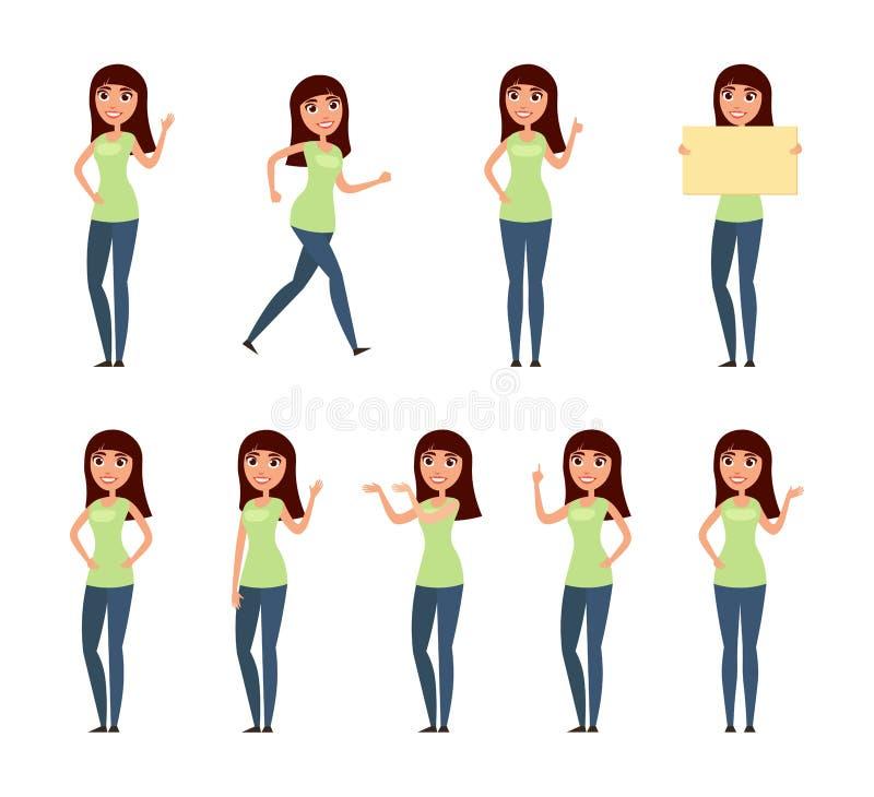 套妇女,便衣的女孩用不同的姿势 库存图片