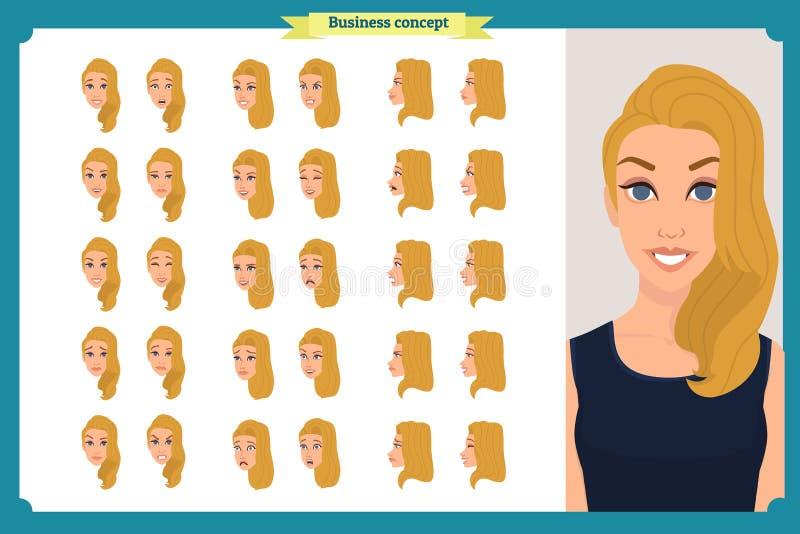 套妇女` s情感设计 表情 前面,边,外形视图给字符赋予生命 也corel凹道例证向量 企业女孩 皇族释放例证