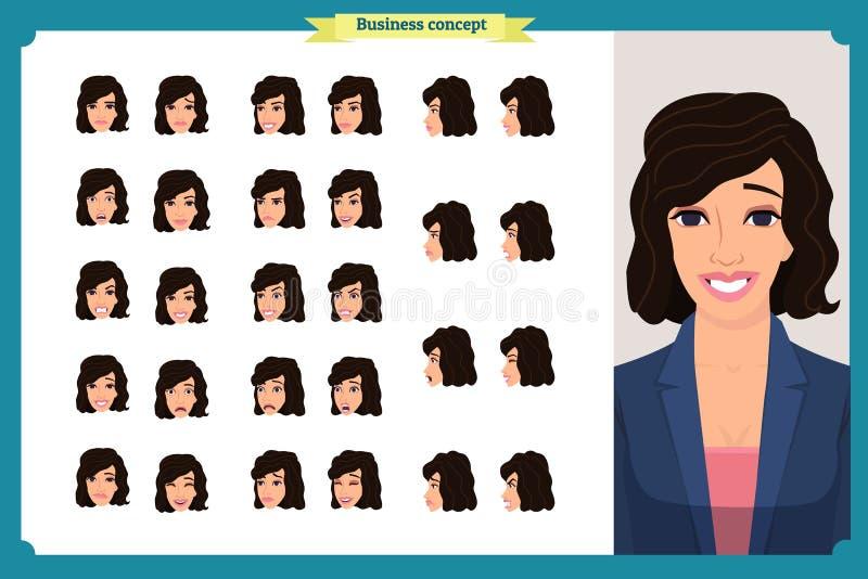套妇女` s情感设计 表情 女孩事务 前面,边,外形视图给字符赋予生命 也corel凹道例证向量 向量例证