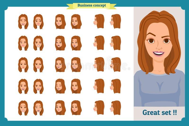 套妇女` s情感设计 表情 女孩事务 前面,边,外形视图给字符赋予生命 也corel凹道例证向量 皇族释放例证