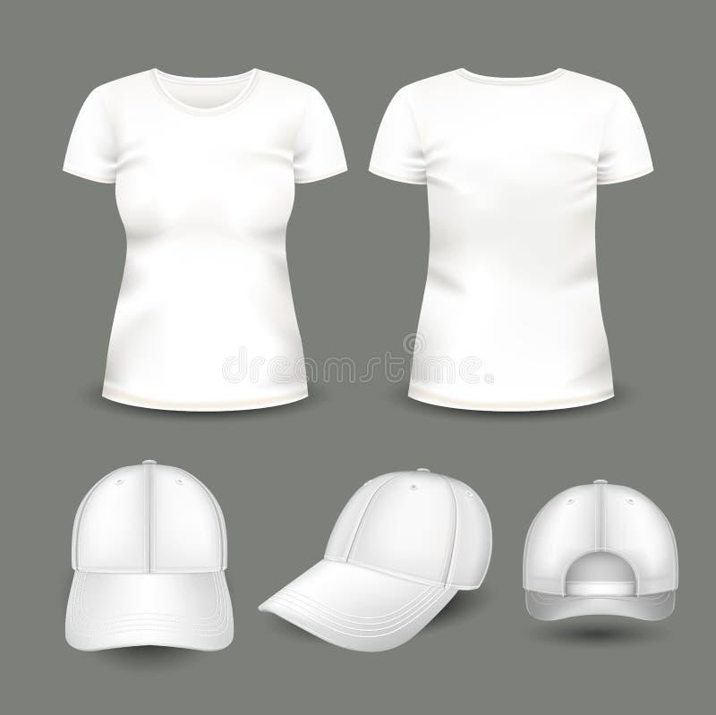 套妇女` s白色T恤杉和盖帽在前面和后面看法 容量传染媒介模板 皇族释放例证