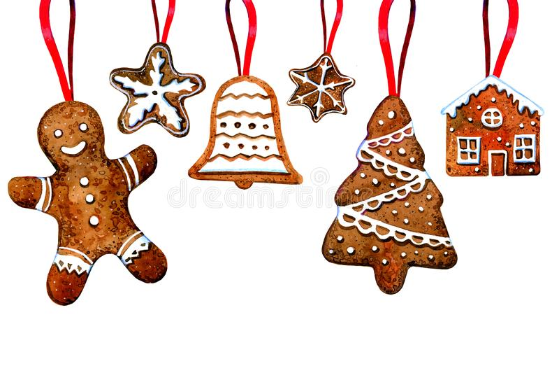 套姜饼曲奇饼计算垂悬在红色丝带 人,圣诞树,响铃,星,房子 手拉的水彩illustrat 向量例证