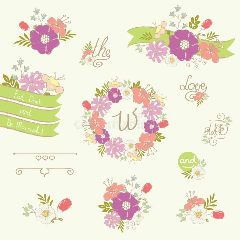 套婚礼与美丽的手拉的花的设计元素 库存例证