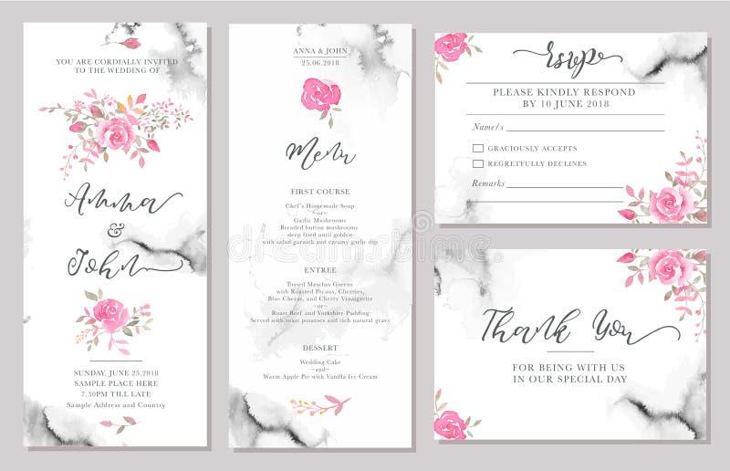 套婚礼邀请与水彩玫瑰色花的卡片模板 库存例证