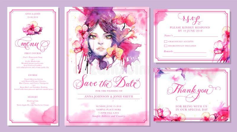 套婚礼邀请卡片模板-美丽的水彩 向量例证