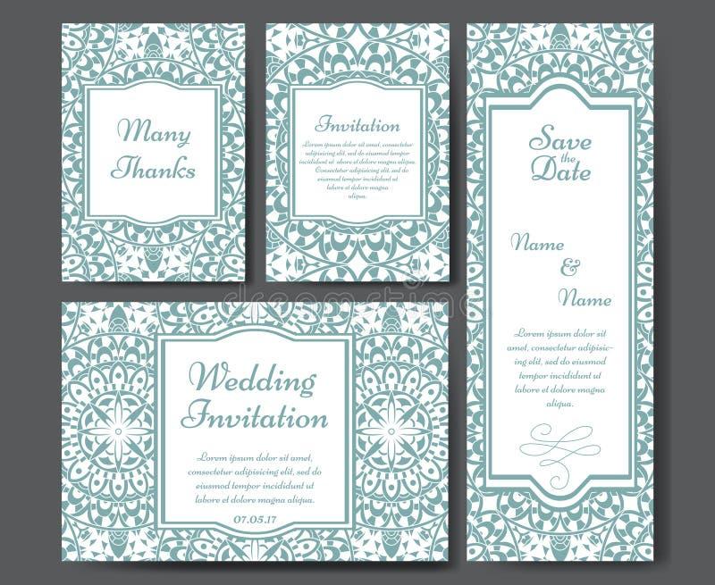 套婚礼邀请 与单独概念的喜帖模板 为邀请设计,谢谢拟订,保存日期c 库存例证