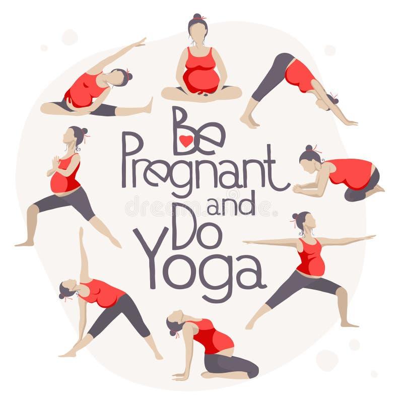 套孕妇的瑜伽姿势 库存例证