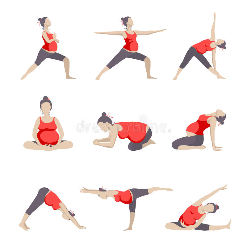 套孕妇的9个瑜伽姿势 皇族释放例证