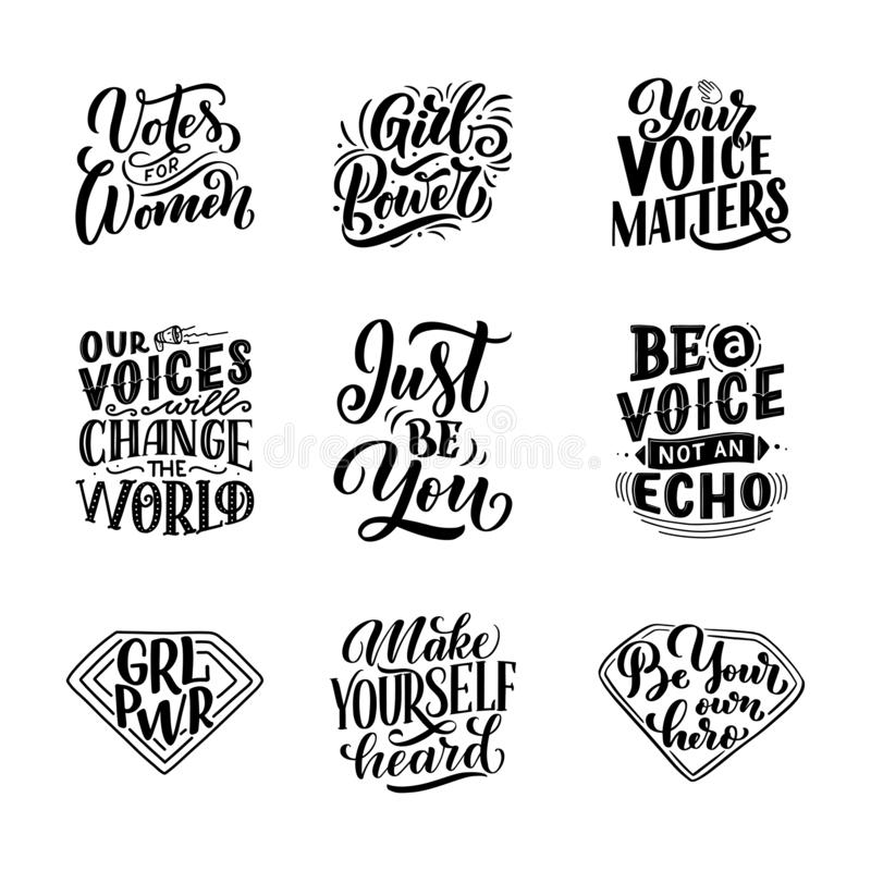 套字法引述关于妇女声音和女孩力量 书法启发图形设计印刷术元素 书面的手 向量例证
