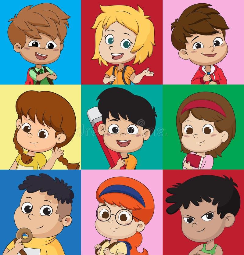 套孩子具体化、逗人喜爱的动画片男孩和女孩面孔与vario 皇族释放例证