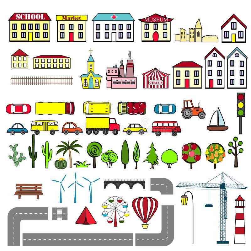 套孩子城市地图元素 也corel凹道例证向量 库存例证